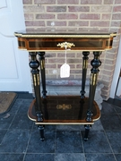 Napoleon 3 style Table  in ebonised wood with marqueterie and bronzes, France 1880