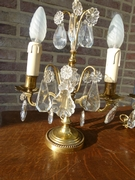 Pair tablelamps in gilded bronze and crystal, France 1920