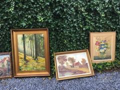 style Big lot of paintings in hand painted  1880-1990