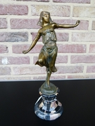 Art-deco style Sculpture of a oriental dancing lady by Omerth  in patinated bronze on marble base, France 1925