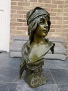 Art-nouveau style Bronze buste of a lady by E.Villanis in patinated bronze with foundry stamp, France 1890