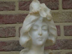 Art-nouveau style Buste of a young lady by P.Philippe in alabaster, France 1900