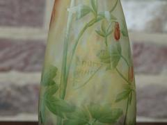 Art-nouveau style Daum vase with enamel flowers in etched cameo glass, Nancy,France 1890