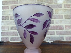 Art nouveau style Moda signed Vase in etched glass, France 1920