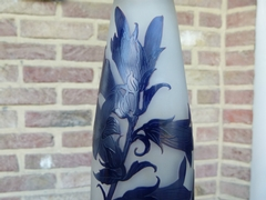 Art nouveau style Vase signed D'Argental in etched glass, France 1910