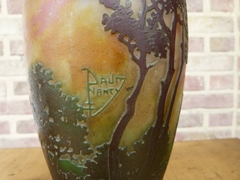 Art nouveau style Vases signed Daum Nancy in etched cameo glass, France 1900