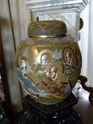 Asiatique style Huge Japanese Satsuma vase with cover in porcelain, Japan 1900