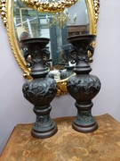 Asiatique style Pair Japanese vases Meiji  in patinated bronze, Japan 1890
