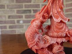 Asiatique style Sculpture of Quan Yin in coral, Asia 1930