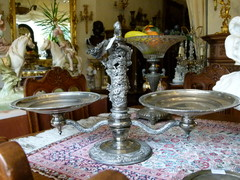 Asiatique style Turning centerpiece in silverplated metal 1920