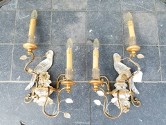 Bagues style Pair sconces in bronze and crystal, France 1950