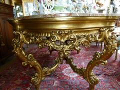 Barock style huge Gilded Italian table with marble top in gilded carved wood and marble, Italy 1860