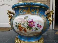Belle epoque style Huge centerpiece from J. Fischer Budapest in faience and gilded bronze, Hungary,Budapest 1890