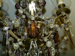 Belle epoque style Lamp whit crystals in gilded bronze and diffirent colors crystals, France 1920