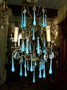 Belle epoque style Lamp with bleu opaline in gilded bronze frame and opaline glass drops, France 1920