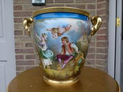 Belle epoque style Cachepot with romantic scene in porcelain, France,Paris 1880