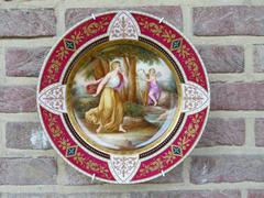Belle epoque style Porcelain plate with romantic scene