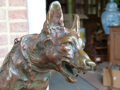 Belle epoque style Sculpture by R.Varnier of two dogg's