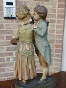 Belle epoque style Sculpture of young pair by Goldschneider in terracotta and wood, Austria,Vienna 1920
