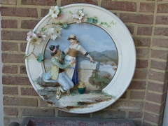 Belle epque style Huge porcelain plate with a romantic scene in faience porcelain, probably Germany 1920