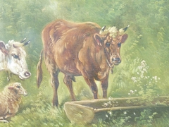 Belle epque style Painting by Paul Schouten of cows and sheep in oil on canvas, Belgium 1900