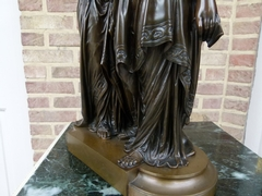 style Bronze patinated sculpture by L.Gregoire in bronze with foundry stamp of société des bronzes, France 1870