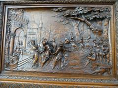 Bruegel style Carved wooden panel of a party in wallnut, France 1880