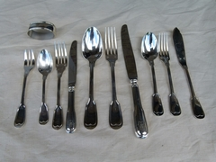 style Christofle cutlery set 77 pieces  in plated silver, France 1950