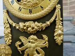 Empire style Clock in gilded and patinated bronze, France,Jumelle à Paris 1815