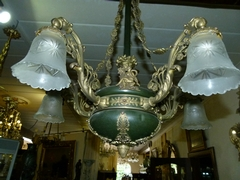 Empire style Lamp in gilded and patinated bronze, France 1920