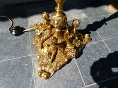 style Floorlamp with putti,s in gilded bronze, Belgium 1960
