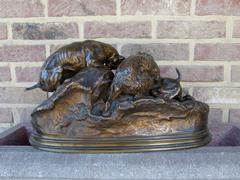 J.p.mene style Sculpture of hunting dog,s in patinated bronze, France 1870