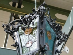 style Lamp in wrought iron and stained glass, Belgium 1920