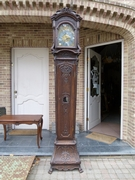 Liége Regénce  style Grandfather clock  in carved oak, Belgium,Liége 1880