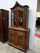 Louis 15 style Cabinet in carved oak, Belgium,Liége 1900