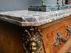 Louis 15 style Chest of drawers in differents woods,marble top and mounred bronzes, Belgium 1900
