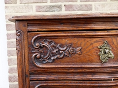 Louis 15 style curved chest of drawers in carved oak, Belgium,Liége 1900