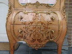 Louis 15 style Display cabinet with flower marquetry and gilded bronzes in different woods, France 1930