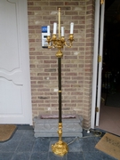 Louis 15 style Floorlamp in gilded and patinated bronze , France 1880