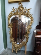 Louis 15 style Gilded mirror with putto,s in gilded wood and plaster, France 1870