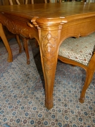 Louis 15 style Highly carved table and 6 chairs in carved oak, Belgium,Liége 1940