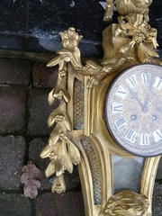 Louis 16 style Cartel wall clock in gilded bronze, France 1880