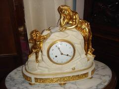 Louis 16 style Clock in gilded bronze and marble, France 1760