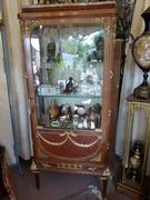 Louis 16 style Display cabinet vitrine in gilded bronzes and satinwood with red marble top, France 1880