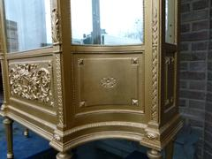 Louis 16 style Displaycabinet vitrine in gilded wood, France 1890