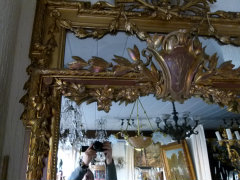 Louis 16 style Mirror in gilded wood and plaster, France 1880