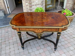 Louis 16 Napoleon 3 style Desk table with flower marquetry and gilded bronzes in different woods, France 1880