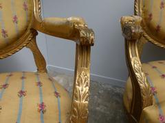 Louis 16 style Pair armchairs in gilded wood, France 1880