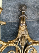 Louis 16 style Pair sconses with putto,s playing on flutes in patinated and gilded bronze, France 1920