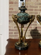 Louis 16 style Pair urns cassolets with heads of rams in green marble and gilded bronze, France 1880